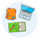 desktop, document, folder, pen, work icon