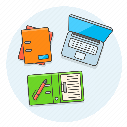 business, desktop, document, folder, pen, study, table, work icon