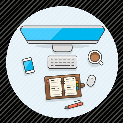 book, coffee, contact, desktop, imac, pen, smartphone, work icon