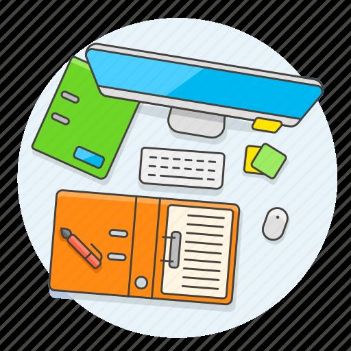 desktop, folder, imac, note, office, pen, sticky, work icon