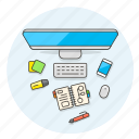 smartphone, workflow, imac, desktop, note, pen, highlight, sticky icon