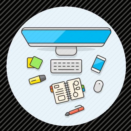 desktop, highlight, imac, note, pen, smartphone, sticky, workflow icon
