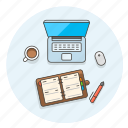 business, coffee, contact, desktop, laptop, pen, work icon