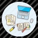 desktop, highlight, laptop, note, pen, study, work icon