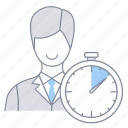 businessman, internship, kpi, officer, performance, time, velocity icon