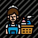cleaner, housekeeper, housekeeping, maid, servant icon