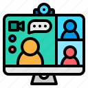 call, communications, conference, video, webcam icon