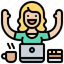 cheerfulness, enjoy, smile, woman, working icon