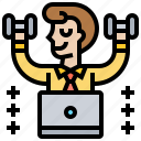 businessman, exercise, healthy, weightlifting, workout icon