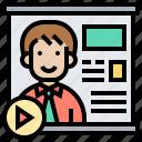 media, meeting, online, presentation, report icon