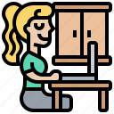 freelance, home, office, woman, working icon