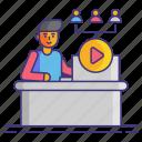 calls, conferencing, video icon