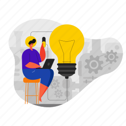 product, development, creative, thinking, idea, thought, man, lightbulb