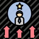 elevate, expert, promoted, raise, upgrade icon
