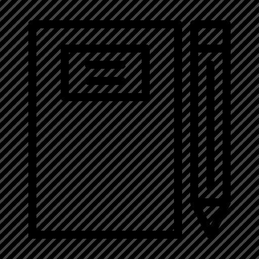 education, notebook, pen, school, university, workshop icon