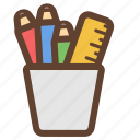 office, pen, pencil, pencils, ruler, school, stationery icon