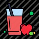 apple, fruit, glass, juice