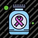 bottle, cancer, medicine, pills, sign