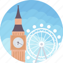 big ben and london eye, elizabeth tower, ferris wheel, palace of westminster, river thames icon
