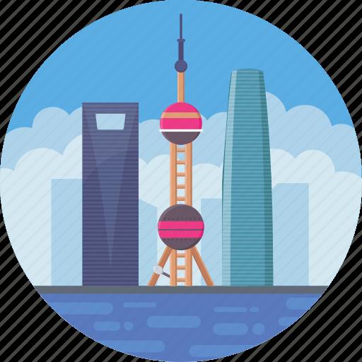 china, oriental pearl radio & tv tower, oriental pearl tower, shanghai, shanghai skyline icon
