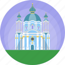 andriyivskyy descent, kiev, st andrew's church, ukraine, world famous church icon
