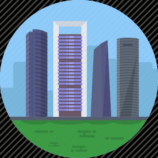 cuatro torres business area, madrid spain, torre caja madrid, torre de cristal, torre espacio icon
