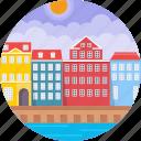 colourful façades along nyhavn, copenhagen, denmark, townhouses copenhagen denmark, nyhavn waterfront