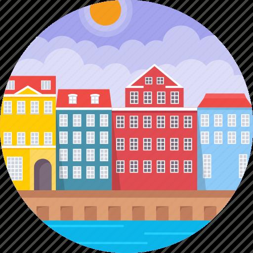 colourful façades along nyhavn, copenhagen, denmark, nyhavn waterfront, townhouses copenhagen denmark icon