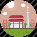 buddhist temple in shiba, japan, tokyo, tokyo tower, zojoji temple icon