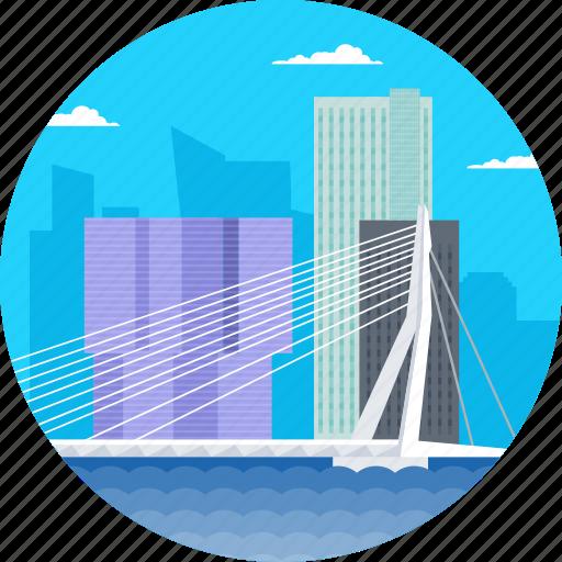 erasmus bridge erasmusbrug, erasmusbrug, netherlands, rotterdam, tallest buildings in rotterdam icon