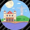 brazil, christ the redeemer statue, mountain church, penha rio de janeiro, rio de janeiro icon