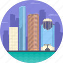 downtown houston, houston, houston skyline district, houston skylines, united states icon