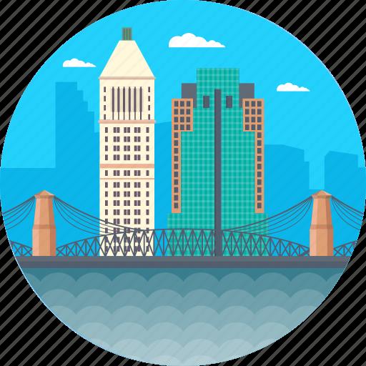brooklyn bridge, cincinnati ohio, downtown cincinnati from devou park, manhattan skyline, usa icon