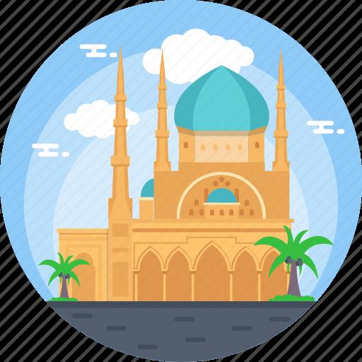 beirut, lebanon, mohammad al-amin mosque, sunni muslim mosque, world famous mosque icon