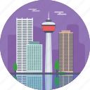 calgary alberta, calgary skyline, calgary tower, canada, tallest buildings in calgary icon