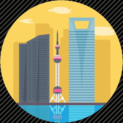 Shanghai, oriental pearl tower, china, oriental pearl radio & tv tower, shanghai skyline icon