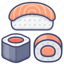 food, japanese, roll, sushi