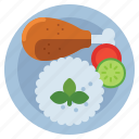 chicken, rice, food icon