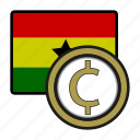 ghana, exchange, cedi, money, payment, coin icon