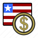 liberia, exchange, dollar, money, payment, coin icon