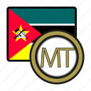 exchange, mozambique, metical, money, payment, coin icon