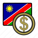 exchange, dollar, namibia, money, payment, coin icon