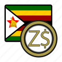 exchange, dollar, zimbabwe, money, payment, coin icon