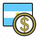america, argentina, coin, currency, exchange, peso, world icon