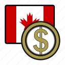 america, canada, coin, currency, dollar, exchange, world icon