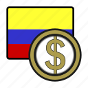 america, coin, colombia, currency, exchange, peso, world icon