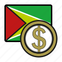 america, coin, currency, dollar, exchange, guyana, world icon