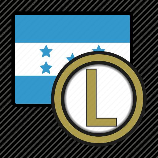 america, coin, currency, exchange, honduras, lempira, world icon