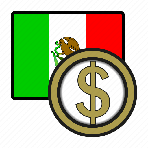 america, coin, currency, exchange, mexico, peso, world icon