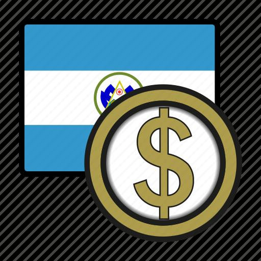 america, coin, colon, currency, exchange, salvador, world icon